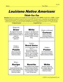 LOUISIANA - Native American THINK-TAC-TOE