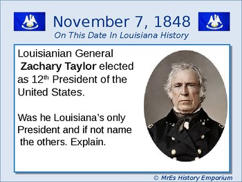 LOUISIANA On this Date in Louisiana History for November