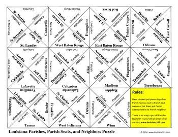 LOUISIANA - Parish & Parish Seats, Neighbors