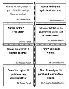 LOUISIANA  Parish/Parish Seat Review Task Cards