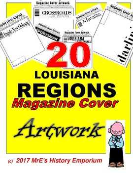 "LOUISIANA   20 Regions of the State ""Magazine Covers"" Artwork"