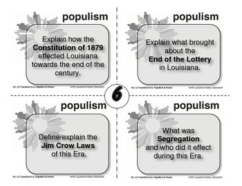LOUISIANA - Ch. 12 Transition Era: Populism Task Cards