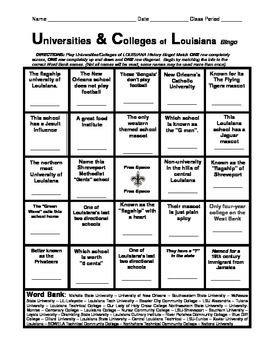 LOUISIANA - Universities & Colleges of Louisiana Self Bingo