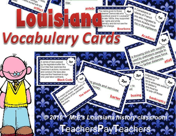 LOUISIANA - Vocabulary Cards