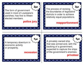 LOUISIANA - Vocabulary Cards