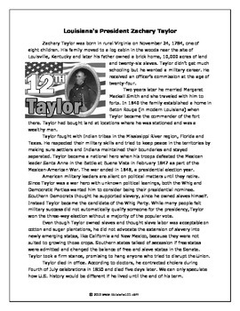 LOUISIANA - Zachary Taylor graphic organizer, timeline, story, test