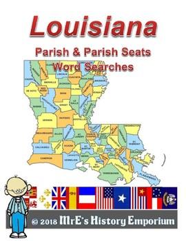 LOUISIANA the Parish & ParishSeat Word Searches PLUS....