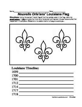 LOUISIANE - Early French Flag & Timeline