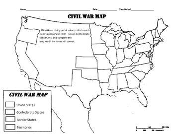Civil War Map Worksheets Teaching Resources Teachers Pay ...