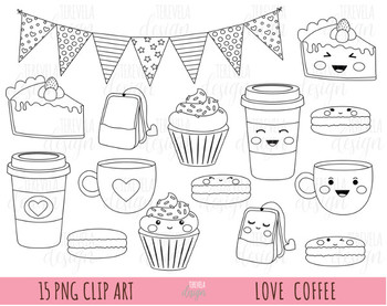 LOVE COFFEE CLIPART, VALENTINE'S DAY CLIPART, CUPCAKES, BLACK LINE