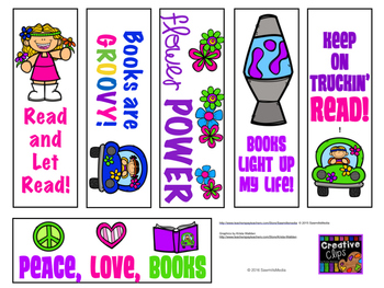 LOVE TO READ Hippie (60's) Theme -Reading Logs, Bookmarks & More