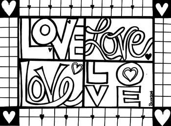 LOVE coloring sheet
