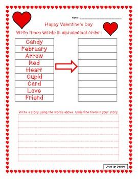 Valentine's Day Language Arts Activities FREE