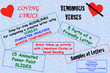 LOVING LYRICS or VENOMOUS VERSES  LETTERS TO CHARACTERS