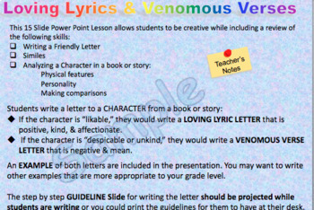 LOVING LYRICS or VENOMOUS VERSES  LETTERS TO CHARACTERS