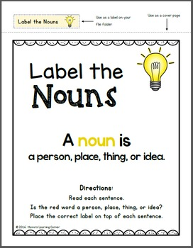 LOW PREP Label the Nouns File Folder Game