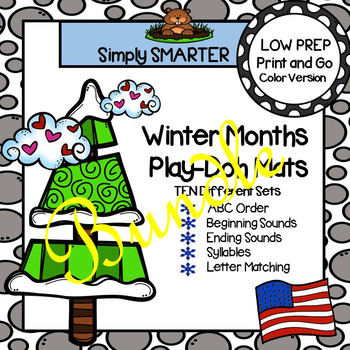 LOW PREP Winter Months Literacy Play Dough Mats Bundle