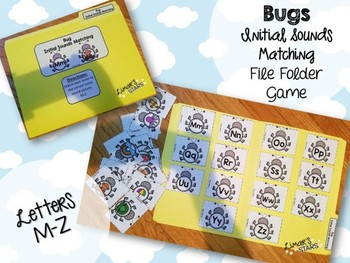 Bugs File Folder Game: Initial Sound Match M-Z