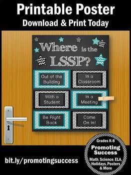LSSP School Psychologist Door Sign 8x10 or 16x20 NOT EDITABLE