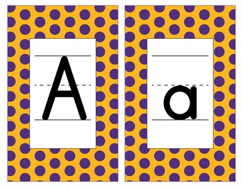 LSU Inspired Purple and Gold Alphabet and Number Cards for Word Walls-Editable
