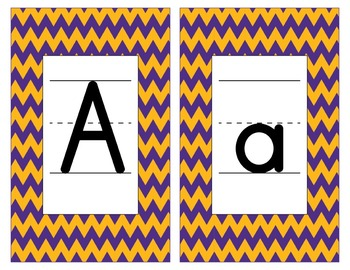 LSU Inspired Purple and Gold Alphabet and Number Cards for