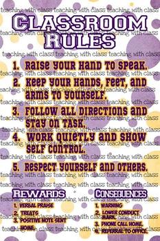 Classroom Theme Decor LSU Tiger Classroom Rules