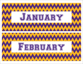LSU Tigers Inspired Purple and Gold Chevron Calendar Pieces