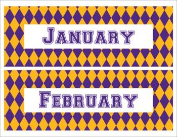 LSU Tigers Inspired Purple and Gold Diamond Calendar Pieces