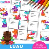 LUAU EDITABLE Worksheets | Secret Picture Tiles