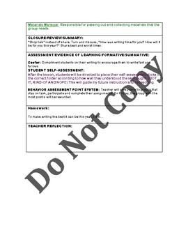 LUCY CALKINS: Narrative Craft- Unit 1-Lesson Plans for sessions 1-12 Grade 5