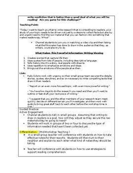 LUCY CALKINS:  THE LENS OF HISTORY- Lesson Plan for Session 10- Grade 5