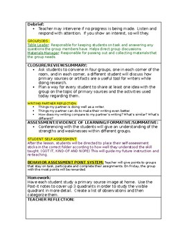 LUCY CALKINS:  THE LENS OF HISTORY- Lesson Plan for Session 11- Grade 5