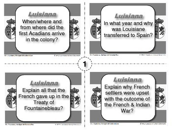 LUISIANA - Ch. 7 Spanish Colonial Era Task Cards