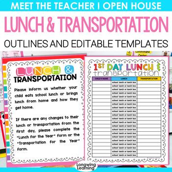 LUNCH AND TRANSPORTATION FOR MEET THE TEACHER EDITABLE