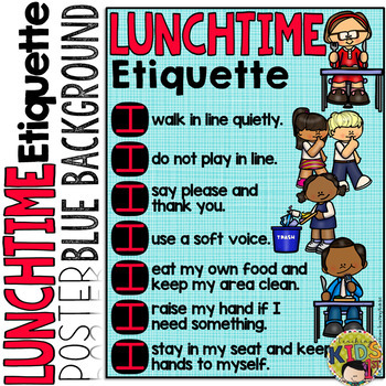 LUNCH ETIQUETTE POSTER (Blue Background)