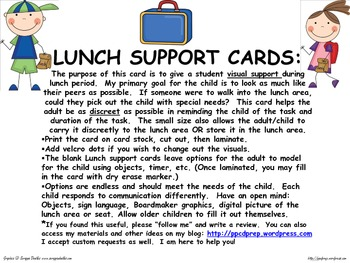 LUNCH SUPPORT CARDS