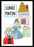 LUNDI MATIN - Lyrics & Printable Puppet Sticks - French Nursery Rhyme
