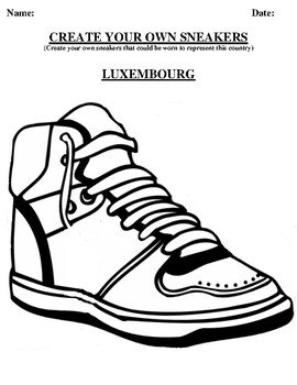 LUXEMBOURG Design your own sneaker and writing worksheet