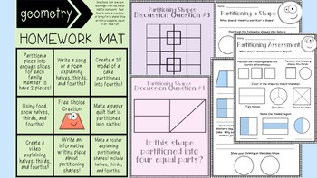 LVLD Partitioning 2D Shapes 2nd Grade (5 in class activities & HW choice board!)