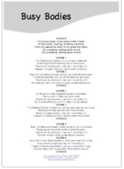 'BUSY BODIES' ~ LYRICS PDF: READ & LEARN about various human body systems