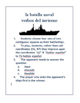La Batalla naval grid SPANISH winter expressions