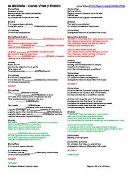 La Bicicleta - Shakira and Carlos Vives - Regular -AR and -ER verb practice
