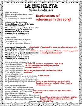 La Bicicleta Spanish Song Activities Packet