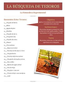La Búsqueda de Tesoros de la Naturaleza - Nature Scavenger Hunt in Spanish