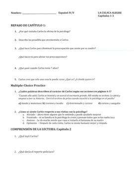 La Calaca Alegre: Vocab Lists, Grammar Mini-Lessons, Discussion ?s for chs. 1-15