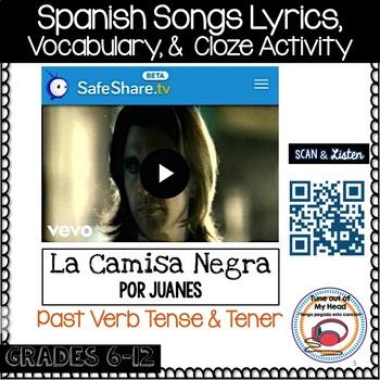 La Camisa Negra Por Juanes Spanish Cloze Activity - Song Lyrics - Preterite