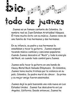 Spanish Song La Camisa Negra por Juanes Present Tense Verbs and Reflexive Verbs