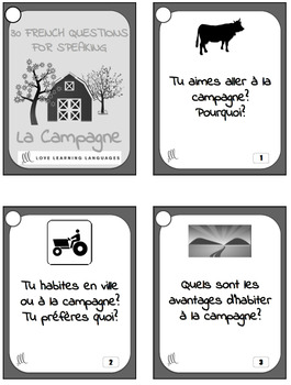 Vocabulaire de la Campagne - 30 French Speaking Prompts for Secondary