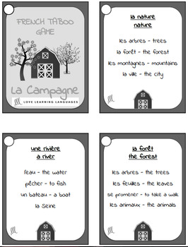 Vocabulaire de la Campagne - French Taboo Speaking Game and Activity