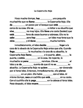 La Caperucita preterit and imperfect worksheet Spanish